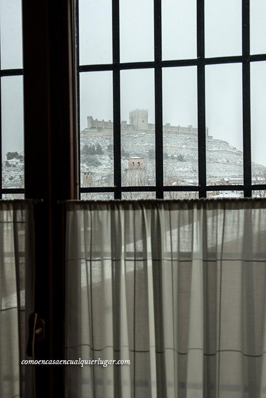 peñafiel con nieve castillo